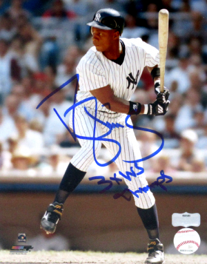 "Darryl Strawberry Signed New York Yankees 8x10 MLB Photo with ""3x WS Champs"" Inscription-0"