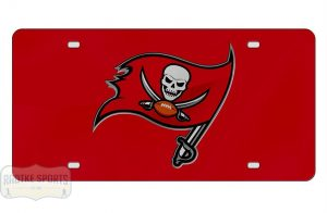 Tampa Bay Buccaneers Officially Licensed NFL Laser Tag Red Mirror License Plate - Flag-0