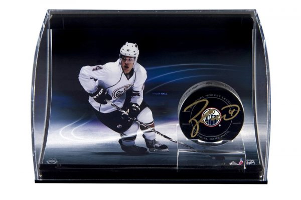 Taylor Hall Signed NHL Hockey Puck with Curved Display-14141
