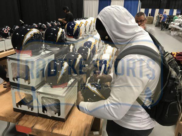 Melvin Gordon & LaDainian Tomlinson Signed Los Angeles Chargers Riddell Throwback Full Size NFL Blue Helmet-32413