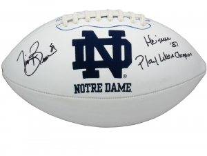 "Tim Brown Signed Notre Dame Fighting Irish Embroidered NCAA Logo Football with ""Heisman 87 - Play Like A Champion"" Inscription-0"