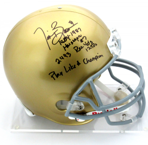 Tim Brown Signed Notre Dame Fighting Irish Riddell Full Size NCAA Helmet with Career Statistics Inscription-0