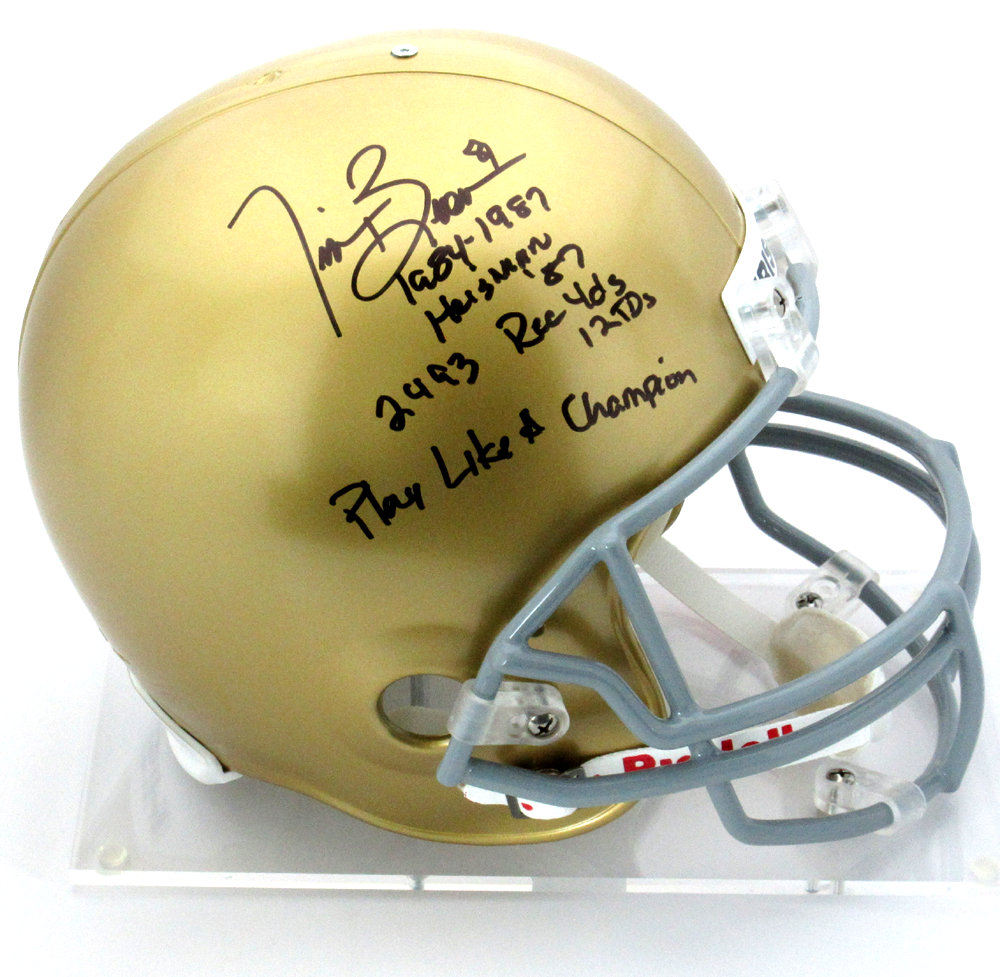 new arrival 8888d 54821 Tim Brown Signed Notre Dame Fighting Irish Riddell Full Size NCAA Helmet  with Career Statistics Inscription