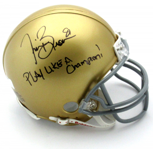 "Tim Brown Autographed/Signed Notre Dame Fighting Irish Riddell NCAA Mini Helmet with ""Play Like A Champion"" Inscription-0"