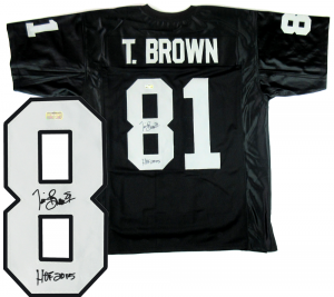 "Tim Brown Signed Oakland Raiders Black Custom Jersey with ""HOF 2015"" Inscription-0"