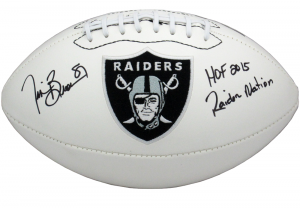 "Tim Brown Signed Oakland Raiders Embroidered NFL Logo Football with ""HOF 2015 - Raider Nation"" Inscriptions-0"