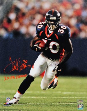 "Terrell Davis Signed Denver Broncos 16x20 Photo With ""2x SB Champ"" Inscription-0"