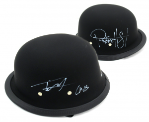 "Tommy Flanagan & Ryan Hurst Signed Daytona Matte Black Authentic Biker Helmet With ""Chibs"" and ""Opie"" Inscriptions-0"