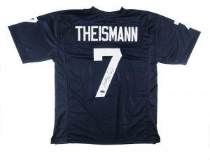 "Joe Theismann Signed Notre Dame NCAA Navy Blue Custom Jersey with ""CHOF 2003"" Inscription-0"