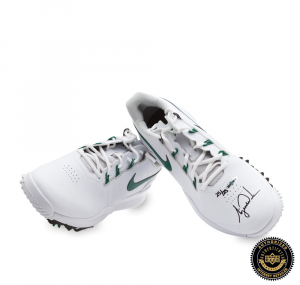 Tiger Woods Signed Nike TW14 Golf Shoes - Green & White - LE-0