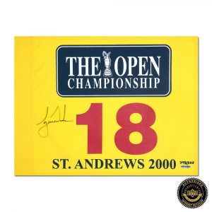 Tiger Woods Signed 2000 British Open Pin Flag - Yellow-0