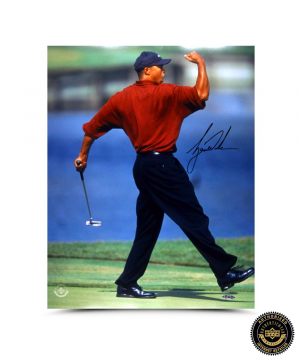 Tiger Woods Signed Fist Pump 16x20 Photo-0