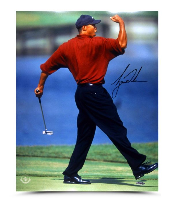 Tiger Woods Signed Fist Pump 16x20 Photo-13615