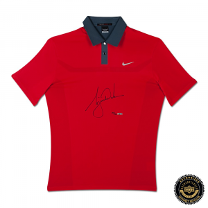 Tiger Woods Signed 2013 Nike TW Engineered Red Polo Shirt-0