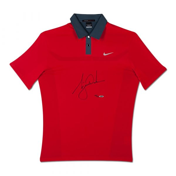 Tiger Woods Signed 2013 Nike TW Engineered Red Polo Shirt-13633
