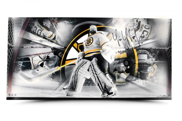 """Tim Thomas Signed Playoff Run Panoramic Collage with """"2011 SC Champs"""" Inscription - LE-14120"""
