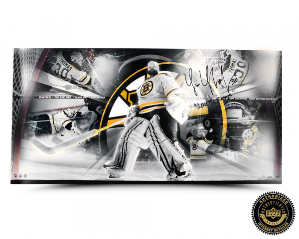 """Tim Thomas Signed Playoff Run Panoramic Collage with """"2011 SC Champs"""" Inscription - LE-0"""