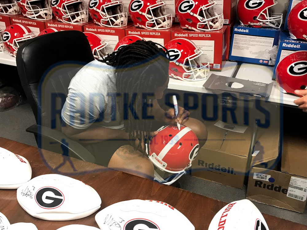 Nick Chubb, Todd Gurley, & Sony Michel Signed Georgia Bulldogs Schutt Full  Size NCAA Helmet