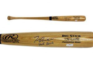 """Tom Glavine Signed Atlanta Braves Official Rawlings MLB Big Stick Engraved Blonde Bat With """"HOF 2014"""" Inscription-0"""