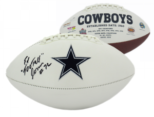"Ed Jones Signed Dallas Cowboys Embroidered NFL Logo Football with ""Too Tall"" Inscription-0"