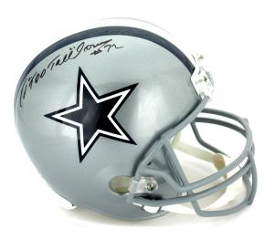 "Ed Jones Signed Dallas Cowboys Riddell Full Size NFL Helmet with ""Too Tall"" Inscription-0"