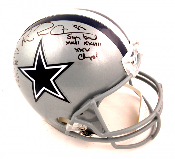 Troy Aikman, Emmitt Smith & Michael Irvin Autographed/Signed Dallas Cowboys Riddell Full Size NFL Helmet with Super Bowl Inscriptions-13281