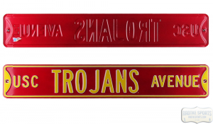 USC Trojans Avenue Officially Licensed Authentic Steel 36x6 Maroon & Yellow NCAA Street Sign-0