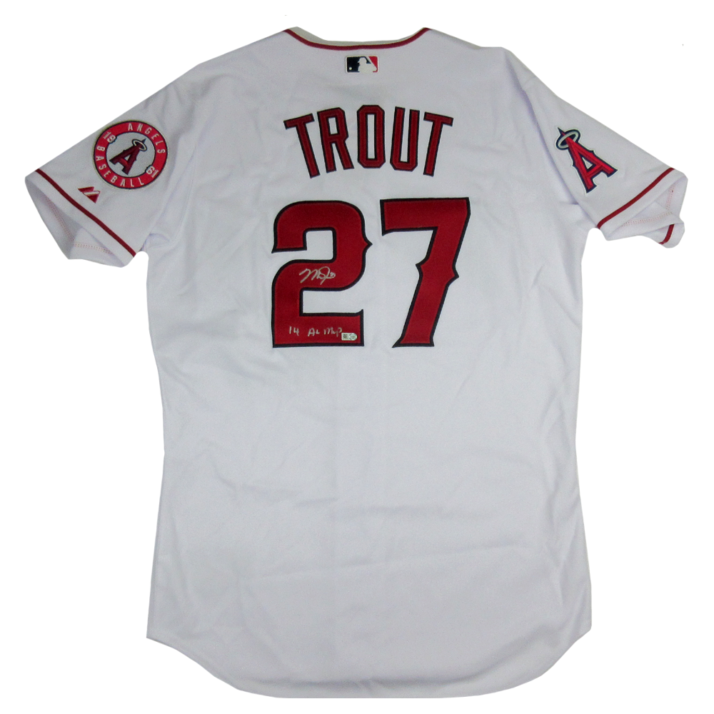 new style 89af2 d92c3 Mike Trout Signed Los Angeles Angels Majestic Authentic MLB Jersey with