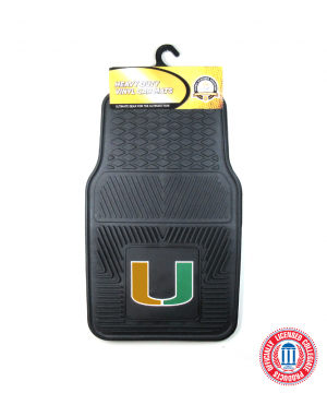 Miami Hurricanes Officially Licensed 17x27 Heavy Duty Vinyl NCAA Car Mats Set-0