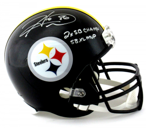 Hines Ward Signed Pittsburgh Steelers Riddell Full Size NFL Helmet with Super Bowl MVP & Champs Inscription-0