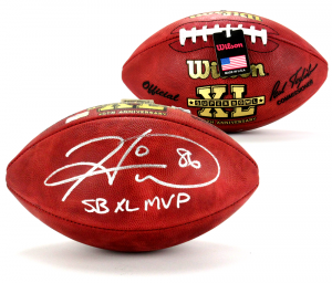 "Hines Ward Signed Wilson Authentic Super Bowl 40 NFL Football with ""SB XL MVP"" Inscription-0"