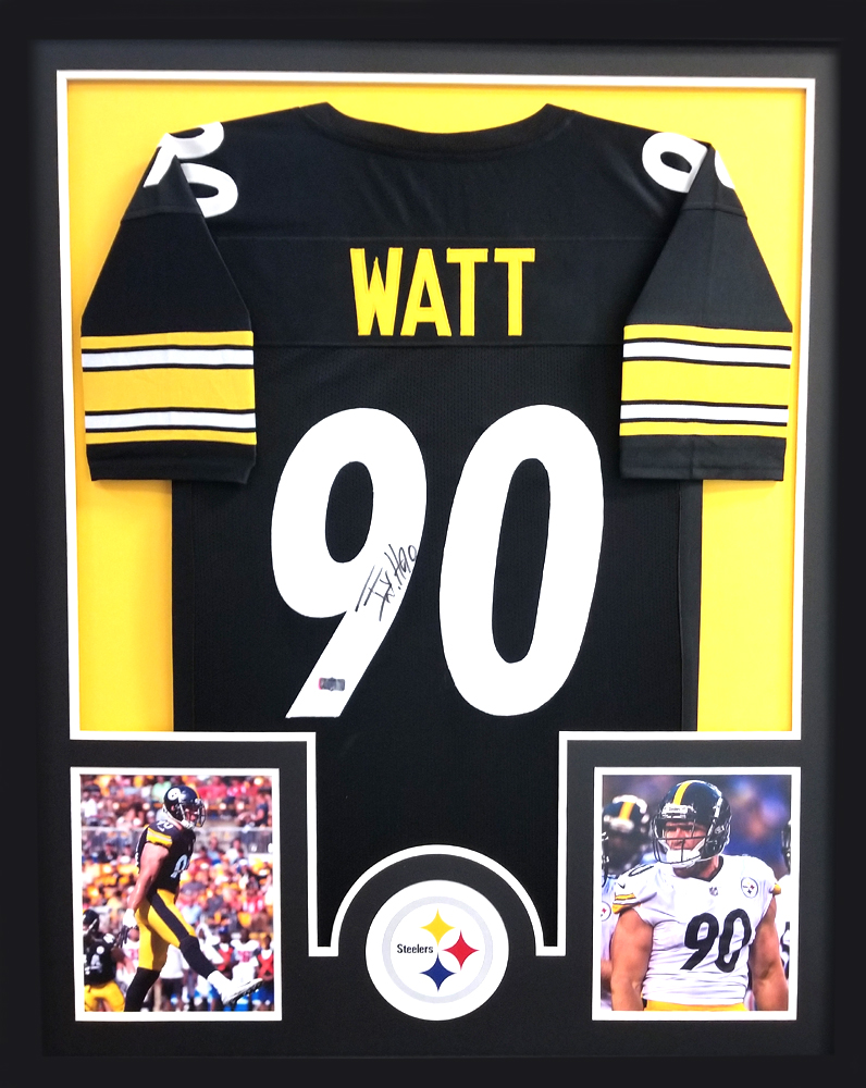 the best attitude d19e1 98593 T.J. Watt Signed Framed Pittsburgh Steelers Black Custom Jersey