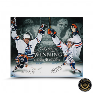"""Wayne Gretzky & Connor McDavid Signed """"Passion for Winning"""" 20x24 Photo-0"""